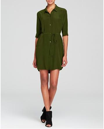 silk green shirtdress