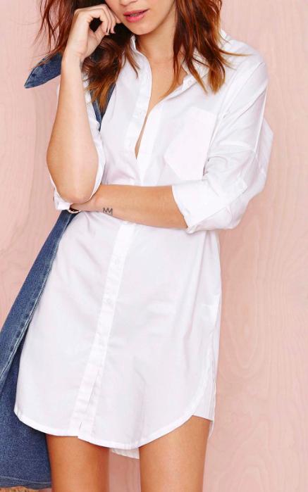 white tunic shirtdress
