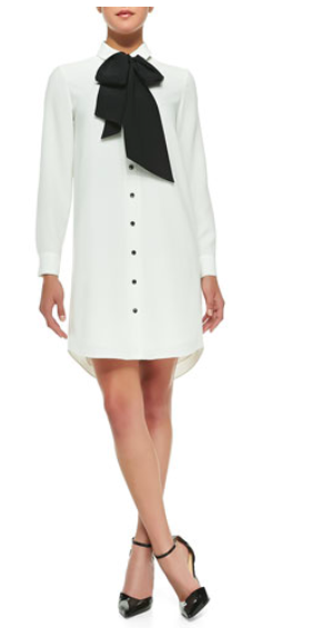shirtdress with bow tie