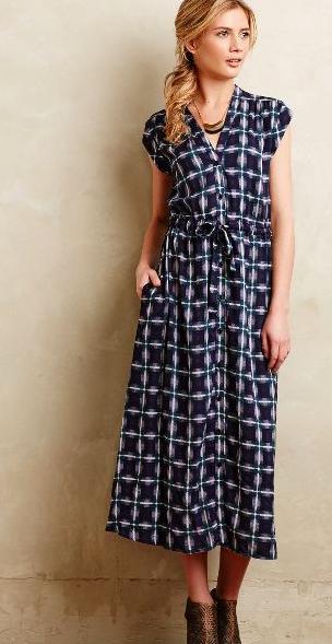 patterned midi shirt dress