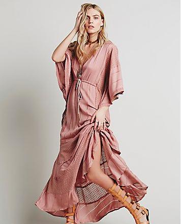 pink maxi caftan