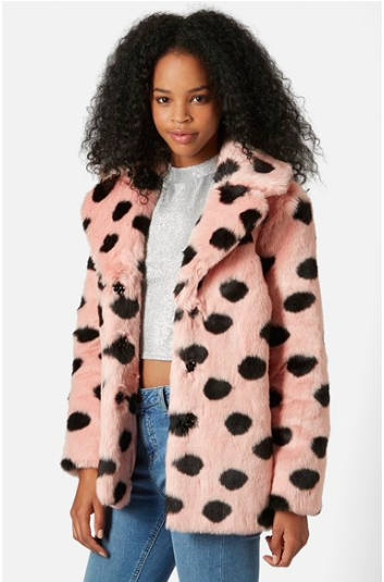 Dotted Faux Fur Jacket