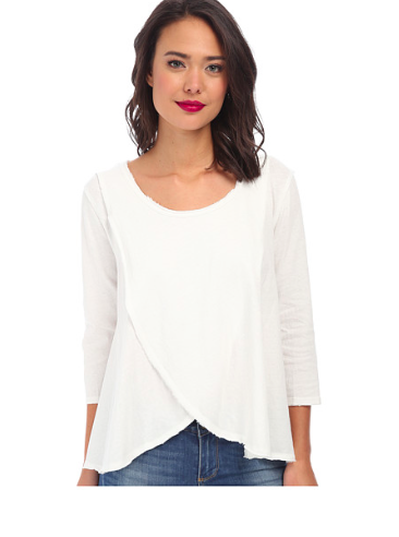 White draped tee shirt
