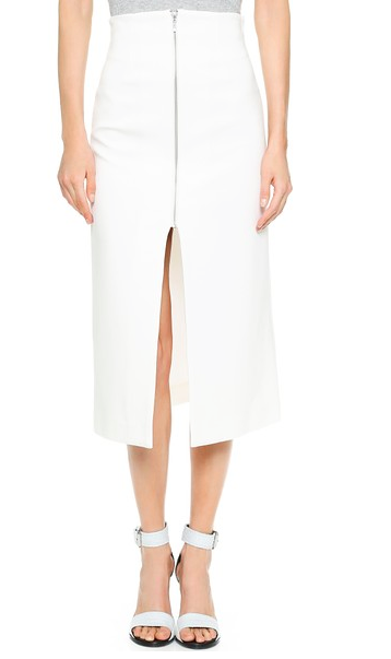 White Midi Zippered Skirt