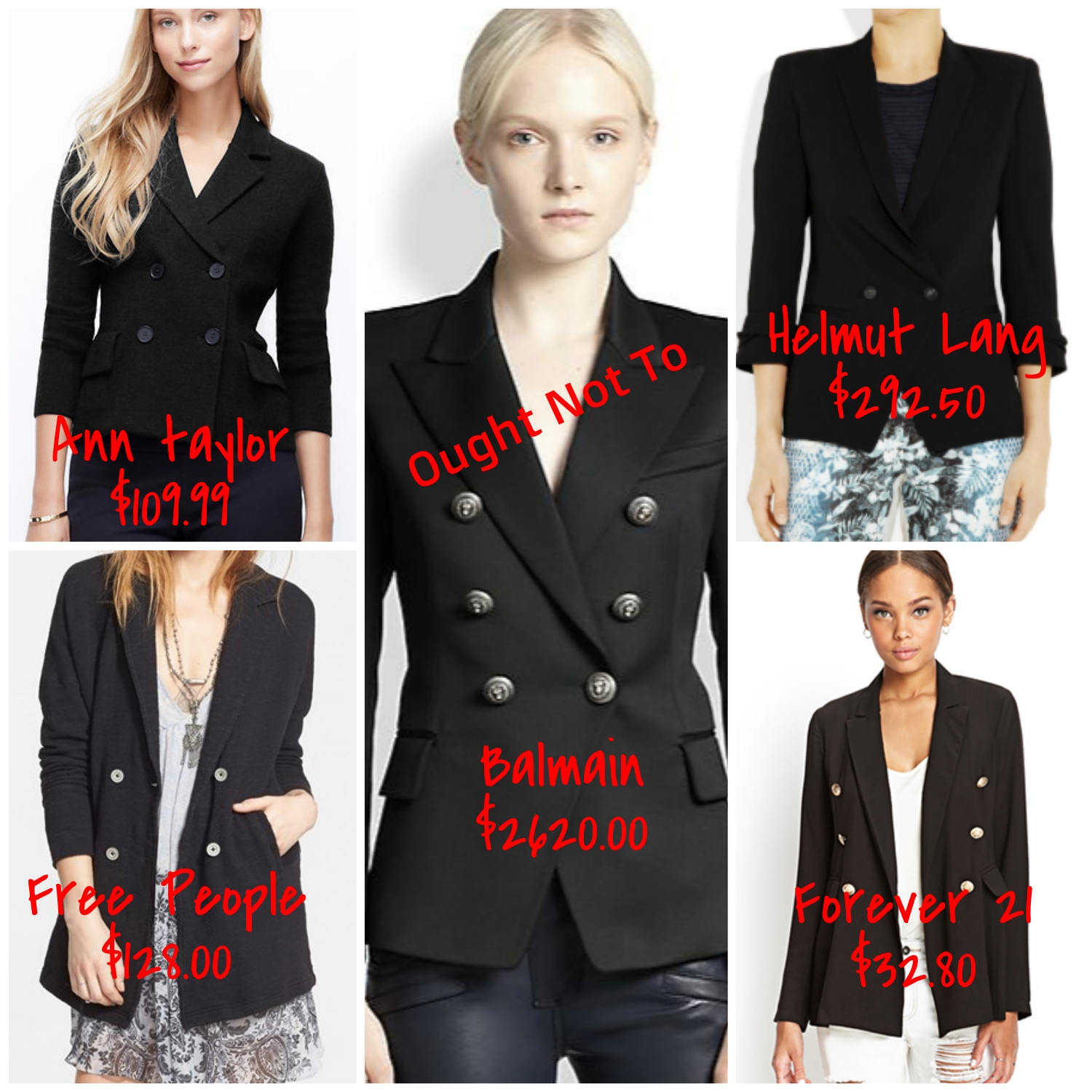 double breasted black blazers - expensive and affordable options