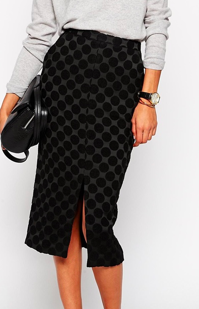 dotted midi pencil skirt
