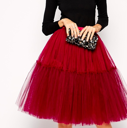 asos red tutu mesh skirt
