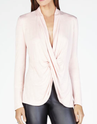 BCBG twist front pink top