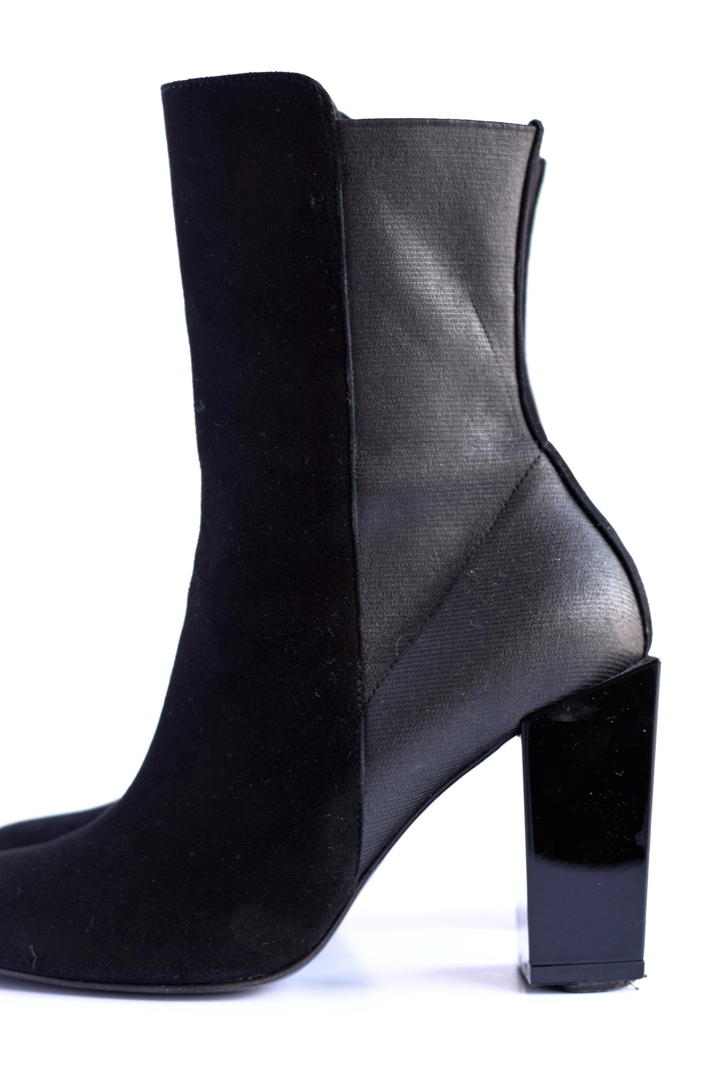 short black heeled boots
