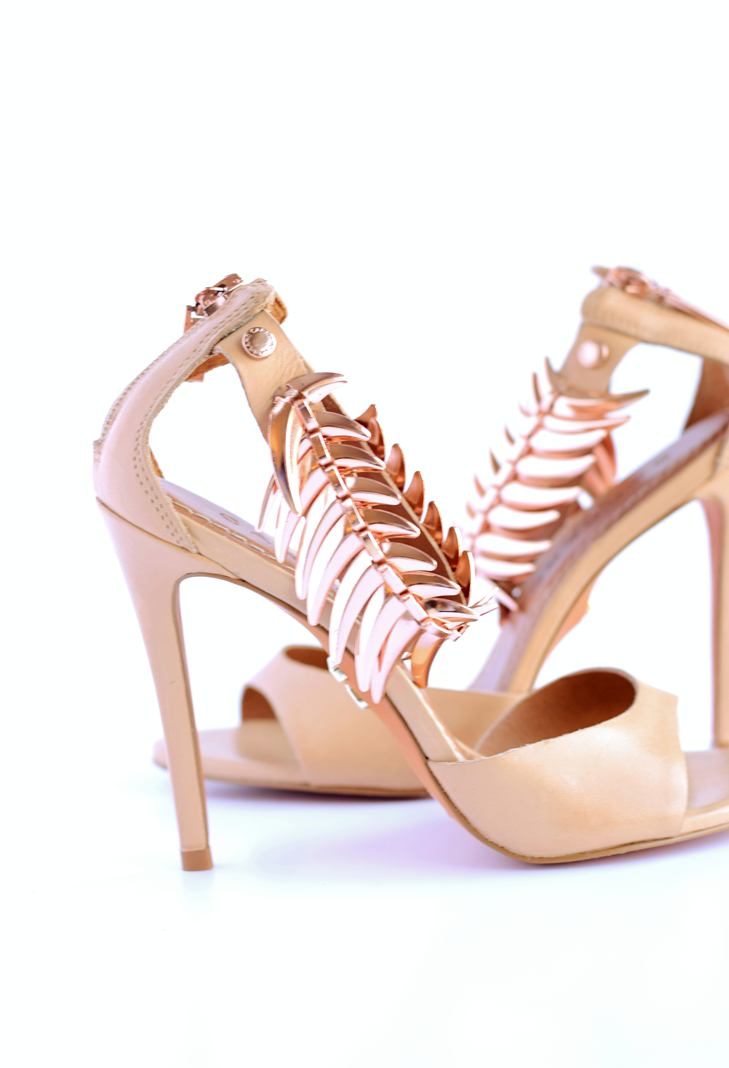 nude heeled sandals with metal detail