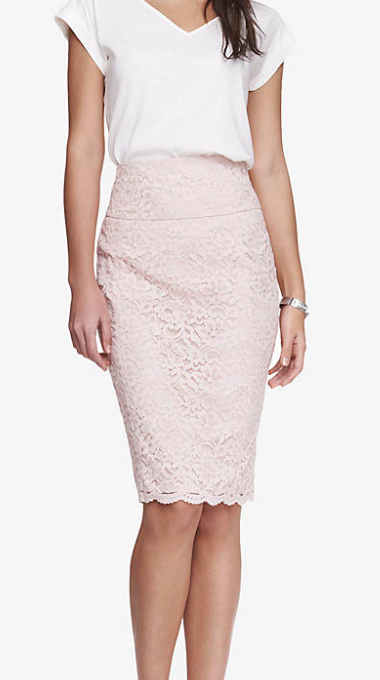 Express lace pencil skirt