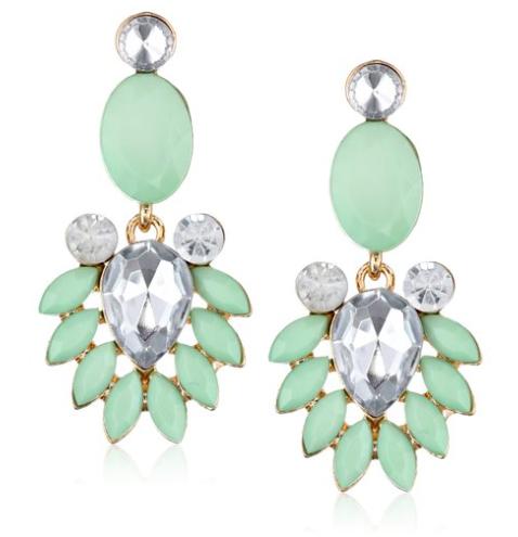 mint green statement earrings