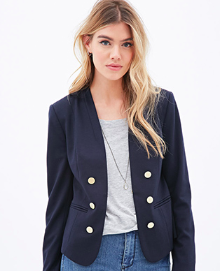 Forever 21 double breasted blue blazer