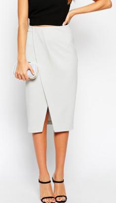 Asos white wrap pencil skirt