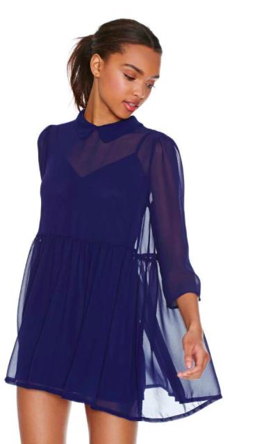 Nasty Gal Blue sheer dress