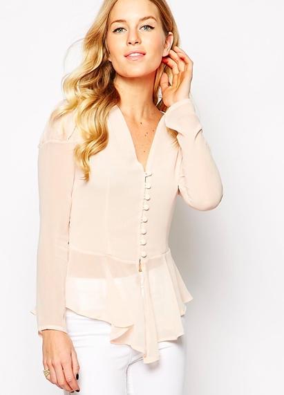 asos pink sheer blouse