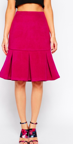 Asos hot pink pleated skirt