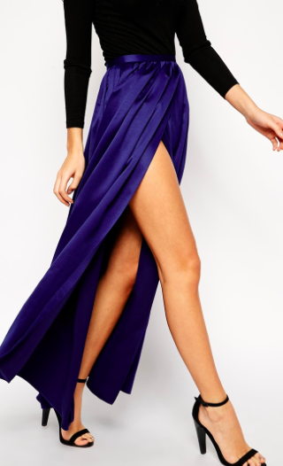 asos blue maxi skirt with slits