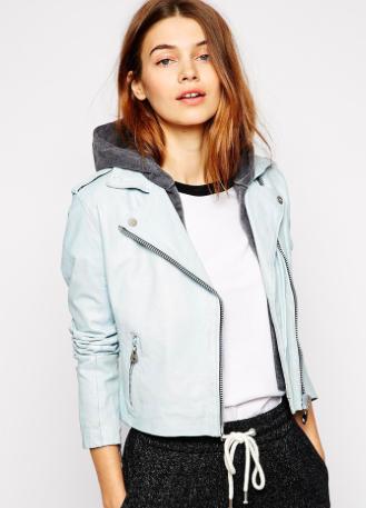 Asos light blue leather jacket