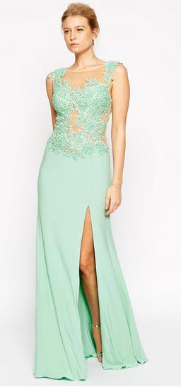 Asos maxi green beaded dress