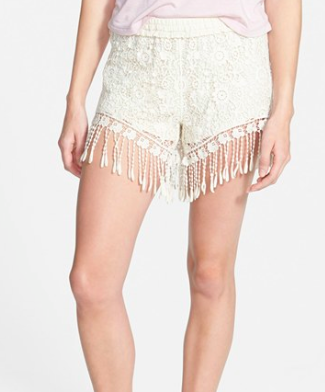 Mima Chica Fringe Crochet Shorts (Juniors)