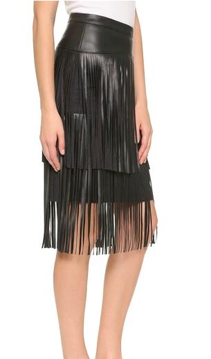 BCBG leather fringe skirt