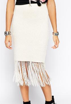 Asos white fringe skirt