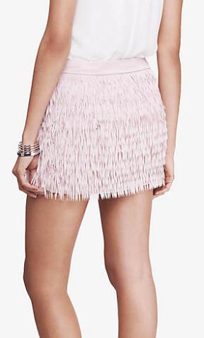 Express mini fringe skirt