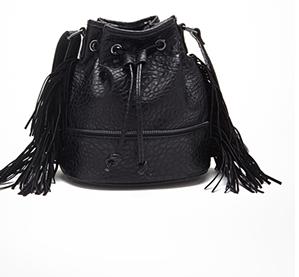 Forever 21 black fringe bucket bag