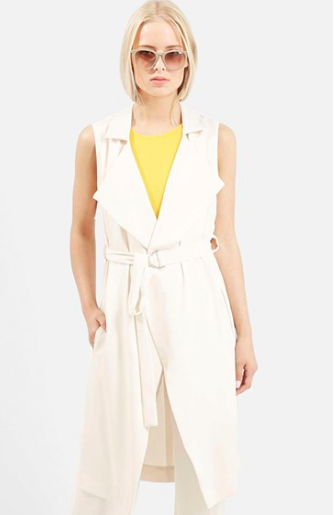 Topshop cream sleeveless jacket