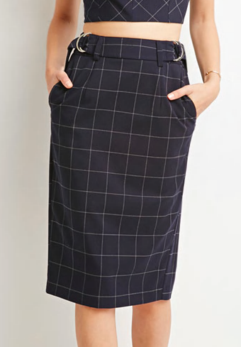 Forever 21 checked midi skirt