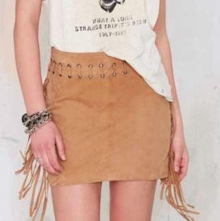 Nasty Gal mini suede fringe skirt