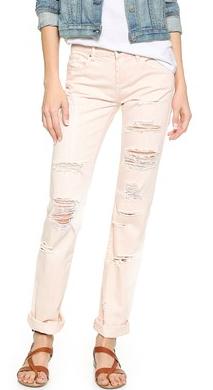 Black denim distressed jeans