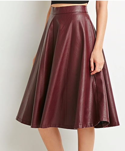 Forever 21 faux leather midi skirt