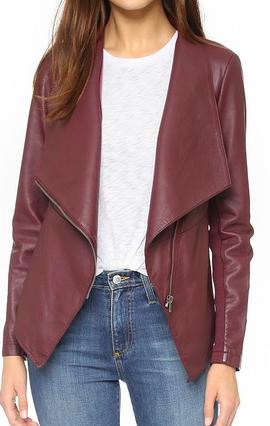 BB Dakota wine vegan leather jacket