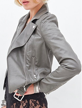Forever 21 grey faux leather jacket