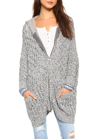 Free People zippered knit cardigan