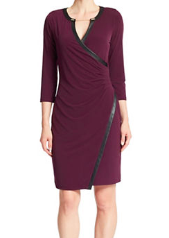 Calvin Klein leather trim dress
