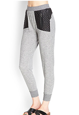 Forever 21 leather quilted sweatpants