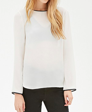 Forever 21 leather trim blouse