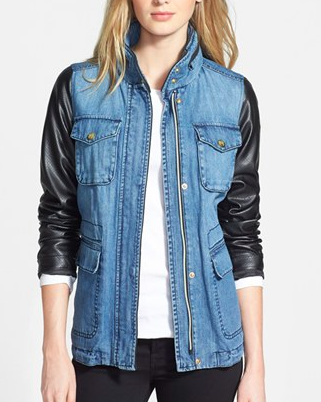 Vince Camuto leather and denim jacket