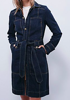 Free People long denim jacket