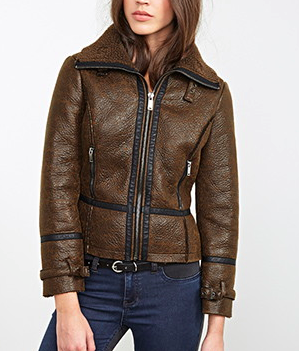 Forever 21 Faux Shearling Aviator Jacket