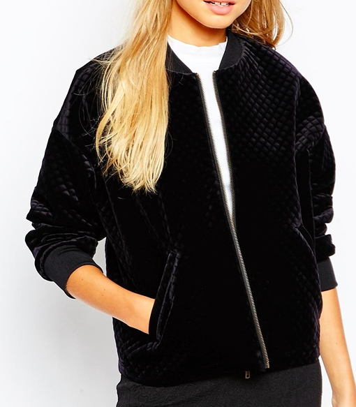 Monki velvet bomber jacket