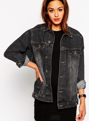 Asos oversized black denim jacket