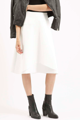 Topshop white midi skirt