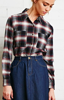 Forever 21 boxy flannel button down