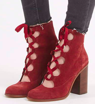 Tohshop lace up heeled booties