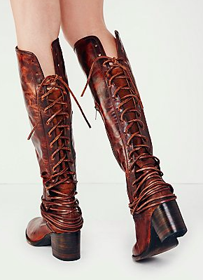 Free People back tie up boot