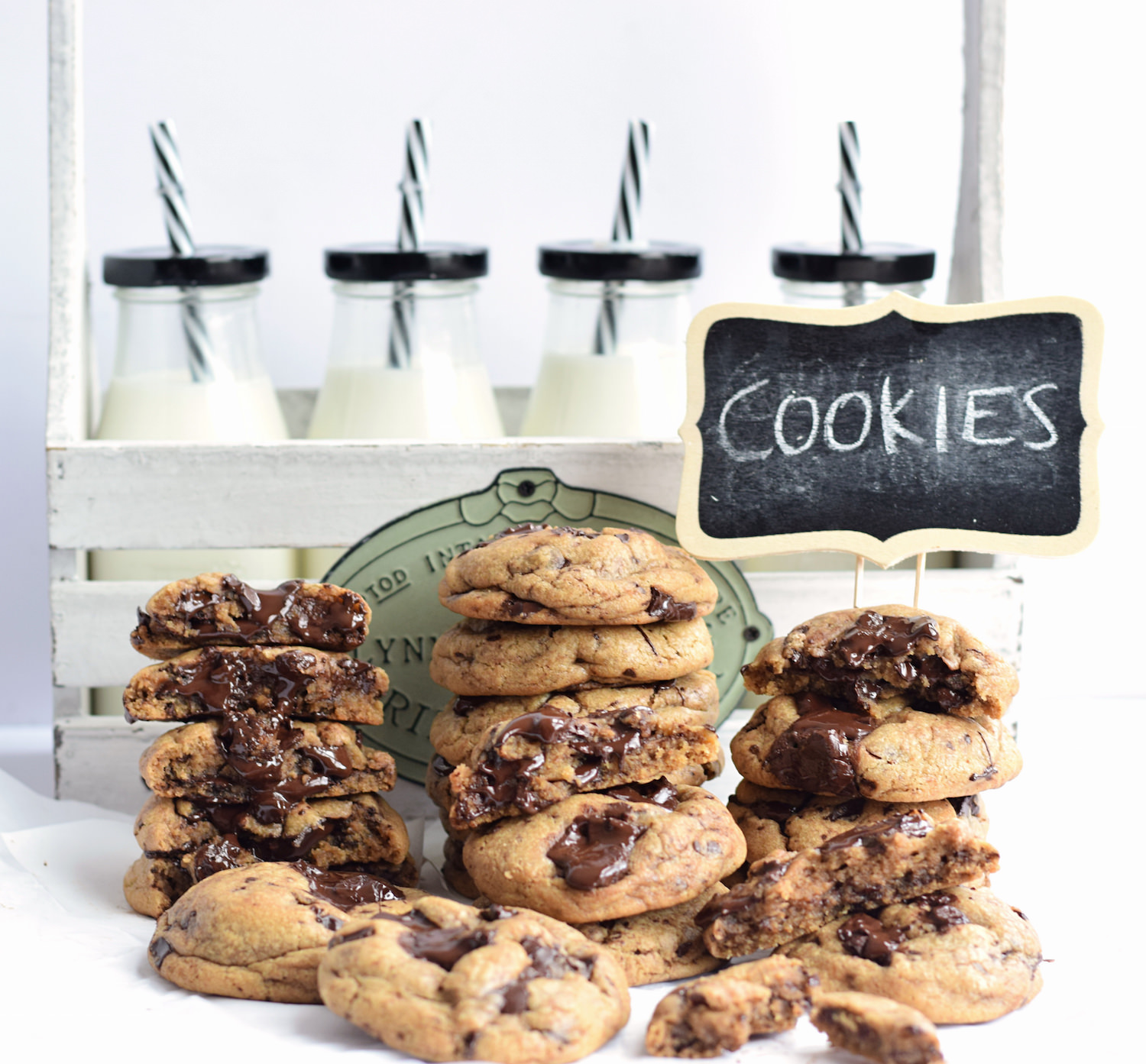 The BEST Chocolate Chip Cookies – soft, gooey, loads of chocolate + caramel undertones from the brown butter.  Took over 25 batches to create! | TrufflesandTrends.com